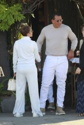 Jennifer Lopez and Alex Rodriguez in Matching White Outfits at Cafe Verona in LA