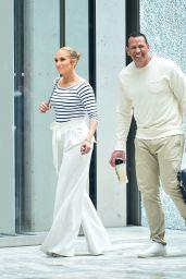Jennifer Lopez in Striped Bodysuit Out in New York City 07/18/2018
