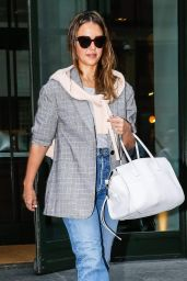 Jessica Alba in Casual Outfit - Leaves the Crosby Street Hotel in NY 07/24/2018