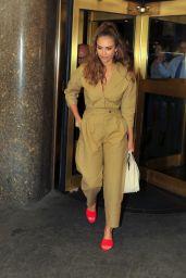 Jessica Alba in Khaki Jumpsuit - Outside NBC Studios in NYC