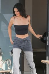 Kendall Jenner in High Waisted Jeans and a Tube Top - Calabasas 07/18/2018