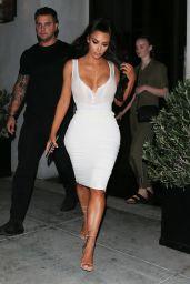 Kim Kardashian in White - Leaves Spago Restaurant in LA 06/30/2018