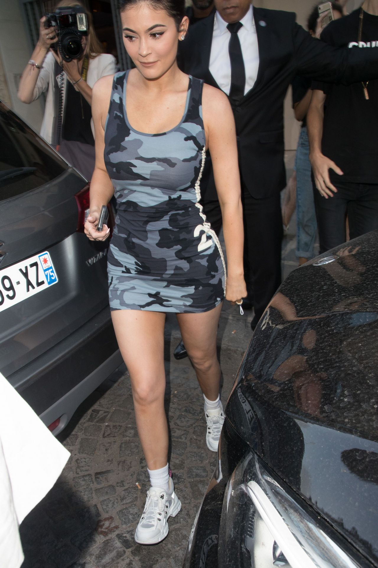 Kylie Jenner In A Camo Dress