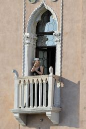 Kylie Minogue Candids - On a Balcony in Venice 07/24/2018
