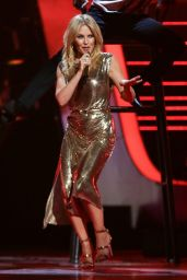 Kylie Minogue Performing at The Voice Kids TV Show Live Finals UK 07/21/2018