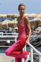 Lady Victoria Hervey in a Pink Bathing Suit at the Albergo Della Regina Isabella Hotel in Ischia