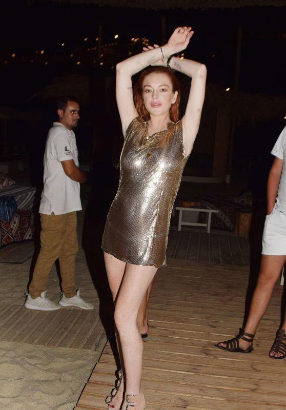 Lindsay Lohan - Celebrates Her Birthday at a Club in Mykonos 07/02/2018