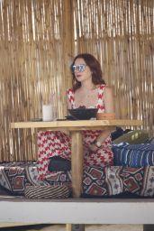 Lindsay Lohan - Photoshoot at Her Beach Club in Mykonos Island 07/29/2018