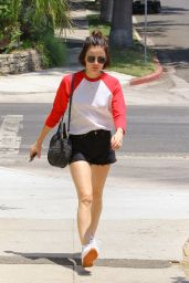 Lucy Hale Leggy in Shorts at Aroma Coffee and Tea in Studio City 07/26/2018