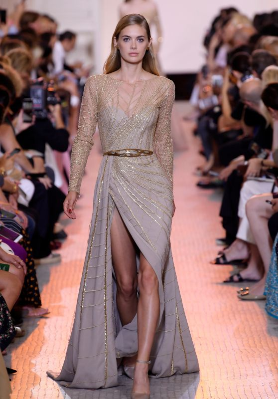 Megan Williams Walks Elie Saab Fashion Show in Paris 07/04/2018