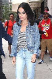 Mila Kunis in Double Denim Out in NYC 07/30/2018