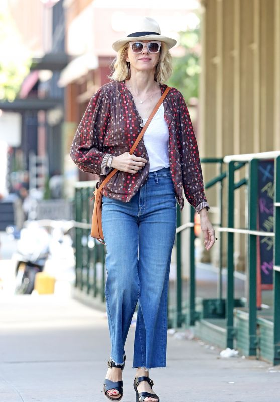 Naomi Watts in a Brown Spotty Shirt and Denim Jeans Out in NYC 07/19/2018