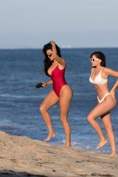 Natalie Halcro and Olivia Pierson in Red and White Bikini
