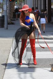 Phoebe Price in a Superwoman Costume - Beverly Hills 07/16/2018