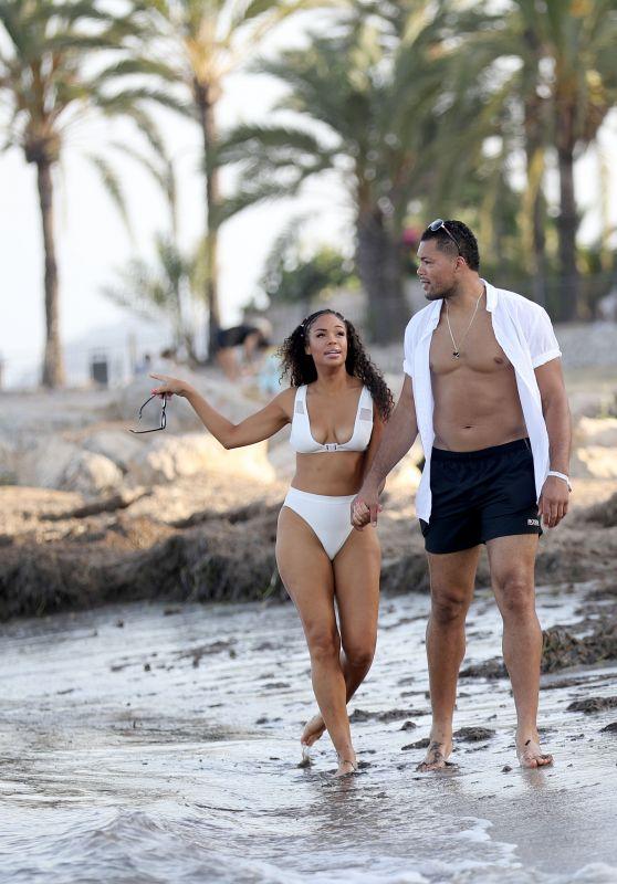 Sarah Jane Crawford and Joe Joyce on a Beach in Ibiza 07/01/2018