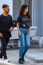 Selena Gomez in Jeans and AC/DC T-Shirt