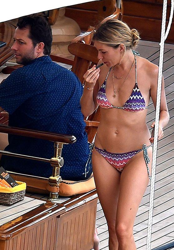 Sienna Miller in Bikini on Holiday in Portofino 07/22/2018