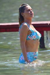 Sophie Monk  in a Blue Bikini - Filming a TV Show on the Beach in Portofino