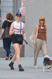 Sophie Turner Leggy in Shorts - Walking a Dog in NYC 07/26/2018