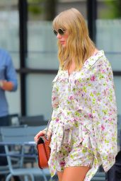 Taylor Swift in a Floral Dress and Large Sunglasses - NYC 07/15/2018