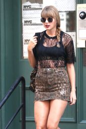Taylor Swift in Mini Skirt and Black Lace Top Out in Manhattan, NY 07/20/2018