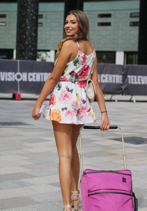 Zara McDermott Leggy in Floral Mini Dress - Outside ITV Studios in London