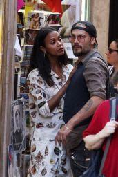 Zoe Saldana and Marco Perego - Shopping in Rome