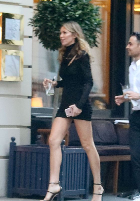 Abbey Clancy Leggy in Mini Dress in Mayfair 08/14/2018