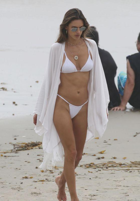 Alessandra Ambrosio in a White Bikini in San Diego, July 2018