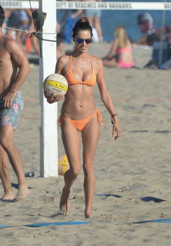 Alessandra Ambrosio in an Orange Bikini in Los Angeles 08/05/2018