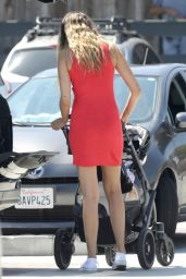 April Love Geary in a Red Mini Dress at the Grocery Store in Malibu 08/05/2018