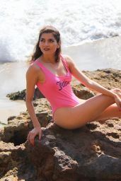 Blanca Blanco in a Pink Swimsuit - Beach in Malibu 08/28/2018