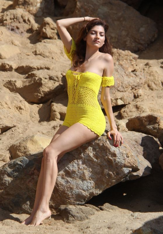 Blanca Blanco in a Yellow Swimsuit in Malibu 08/29/2018