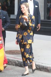 Brooklyn Decker in a Floral Print Suit - BUID Series in NYC 08/06/2018