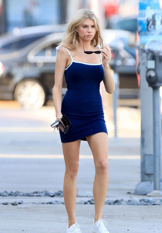 Charlotte McKinney in a Tight Blue Dress in West Hollywood 08/01/2018