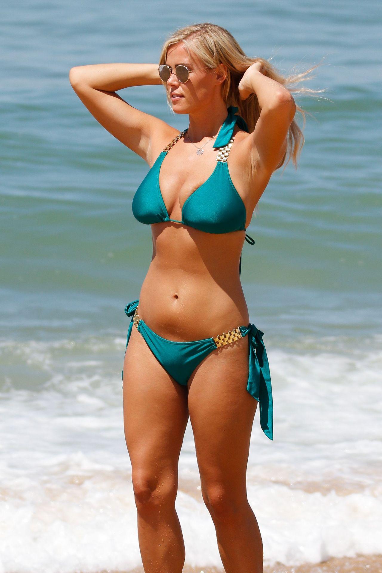 Chloe Meadows In A Green Bikini On A Beach In Portugal -7157