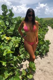 Claudia Romani in a red Bikini at Delray Beach