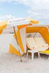 Claudia Romani in a Yellow and White Bikini on South Beach 08/19/2018