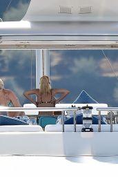 Claudia Schiffer in an Animal Print Bikini in Portofino 08/19/2018