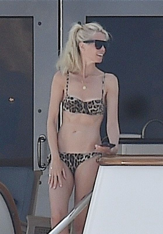 Claudia Schiffer in an Animal Print Bikini in Portofino 08/19/2018