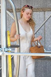 Dakota Fanning - Pulling a Luggage Cart in NYC 0823/2018