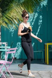 Dakota Johnson in Tights - Picking Up an Iced Coffee in LA 08/20/2018