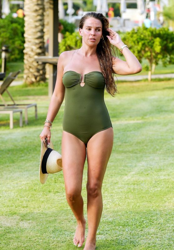 Danielle Lloyd in a Dark Green Swimsuit on Holiday in Dubai 08/20/2018