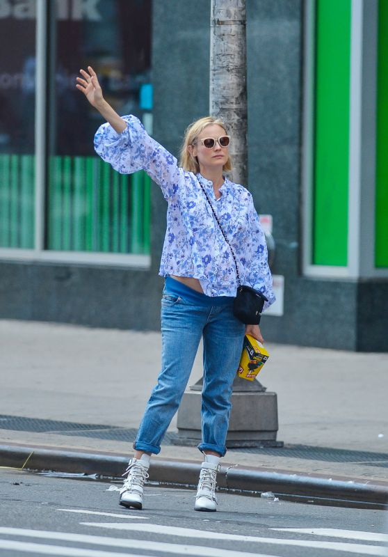 Diane Kruger in a Floral Print Blouse in NYC 08/14/2018