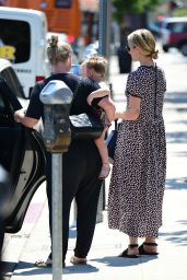 Dianna Agron in a Print Dress in LA 08/08/2018