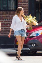 Elizabeth Olsen Leggy in Denim Shorts - Out in NYC 08/26/2018