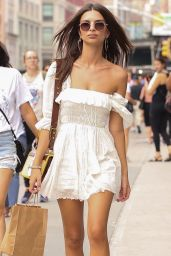 Emily Ratajkowski in a White Mini Dress in New York City 08/16/2018