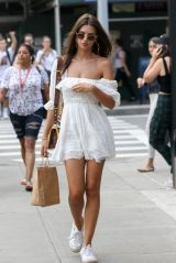 Emily Ratajkowski in a White Mini Dress in New York City 08/16/2018