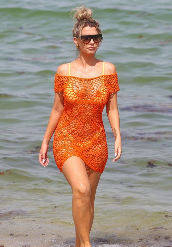 Emily Sears in an Off-The-Shoulder Crochet Dress and Bikini on the Beach in Miami 08/09/2018