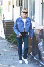 Hailey Baldwin in Plaid Trousers in LA 08/29/2018